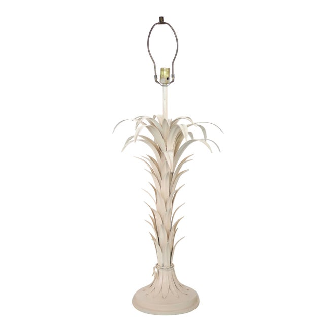 Large Tole Table Lamp with Rope Shade - Image 7 of 10
