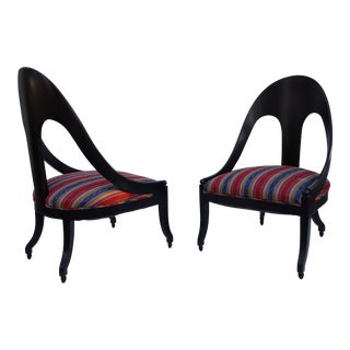 1950's Spoon Back Slipper Chairs - A Pair