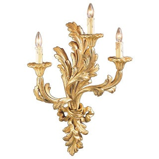 Italian Gold Hand Carved Wood Sconce