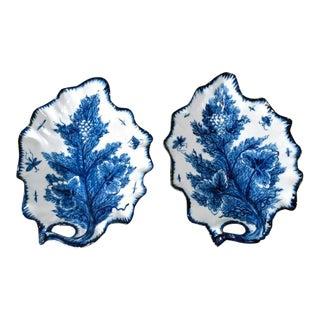 Bow Porcelain Underglaze Blue Trompe L'oeil Leaf Dishes, Circa 1765