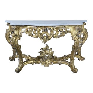19th Century French Rococo Style Giltwood Console with Carrara Marble