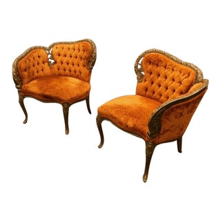 French Antique Tufted Courting Chairs- A Pair