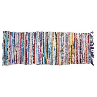 Moroccan Boucherouite Striped Runner - 7' x 2'5''