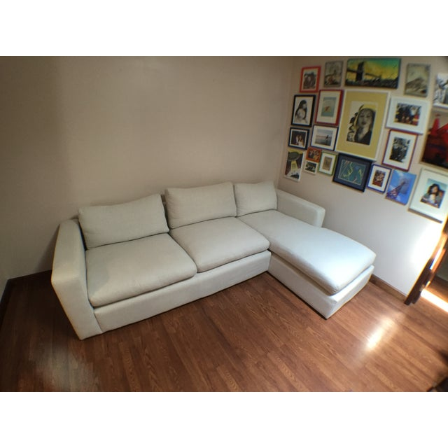 Modern Cotton/Linen Blend Couch with Chaise - Image 5 of 7