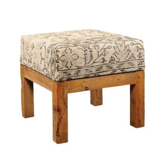 Light Colored Turkish Vintage Wool Upholstered Stool over Old Wooden Base