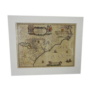 17th Century Antique Map of Virginia & Florida