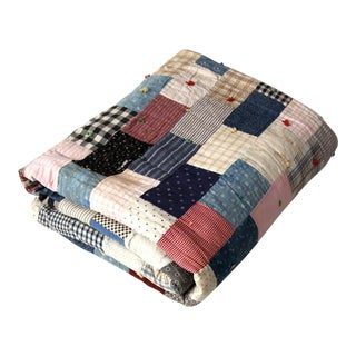 Vintage Hand-Tied Patchwork Quilt