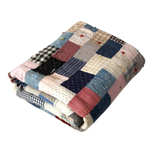 Vintage Hand-Tied Patchwork Quilt - Image 1 of 10