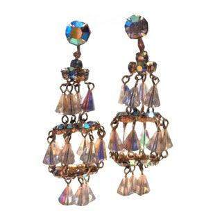 1950s Shimmering Chandelier Drop Clip Earrings