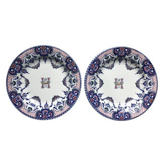 Antique Gien France Nobility Crown Monogram Plates - a Pair