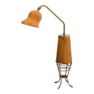 Open basket gourd table lamp using vintage parts