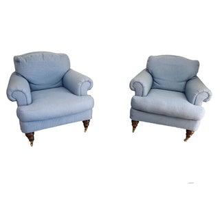 Lillian August Blue Club Chairs - A Pair