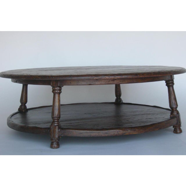 Custom Walnut Wood Round Colonial Coffee Table With Shelf - Image 5 of 10