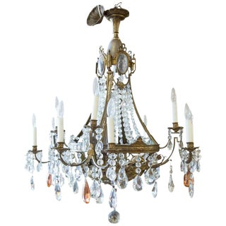 19th Century French Louis XVI Style Bronze and Crystal Twelve-Light Chandelier