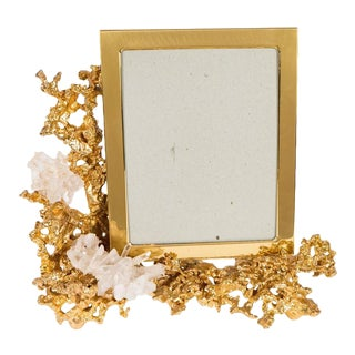 Gorgeous Picture Frame by Claude Boeltz in Gilded Bronze and Rock Crystal