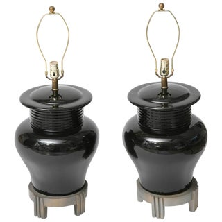 Pair of Large-Scale Art Deco Style Black Ceramic Vase FormTable Lamps