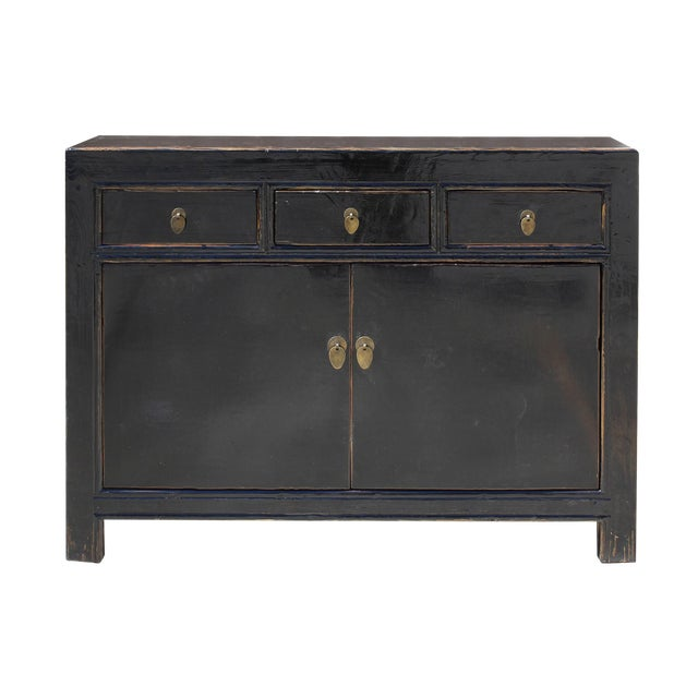 Oriental Credenza: Oriental Simple Black Credenza Sideboard Buffet Table