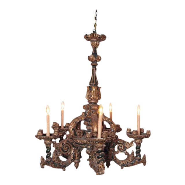 Italian Carved Wood Chandelier - Image 1 of 9