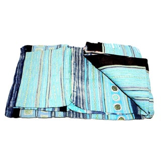 Faded Blue & Black Hmong Blanket