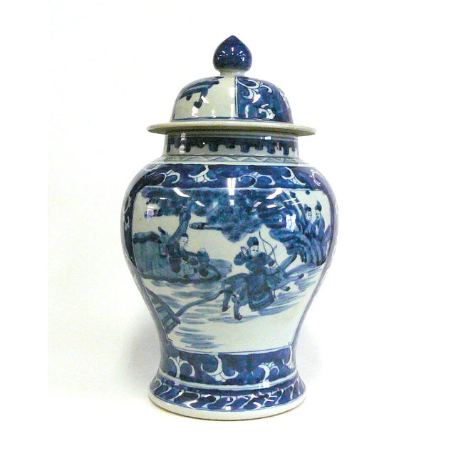 Chinese Blue And White Porcelain Temple Jar - Image 2 of 6