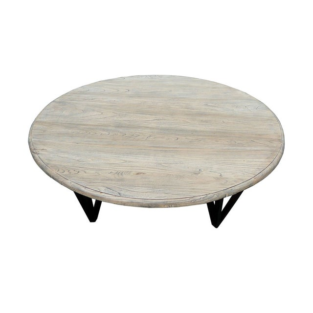 Solid Wood Curved Coffee Table: Solid Wood Low Round Coffee Table With Iron Legs
