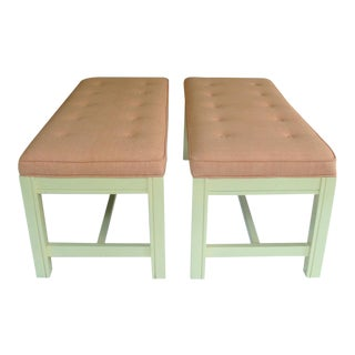 Thibaut Benches With New Upholstery - A Pair