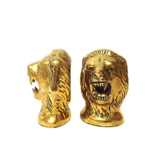 Brass Lion Head Bookends - Pair