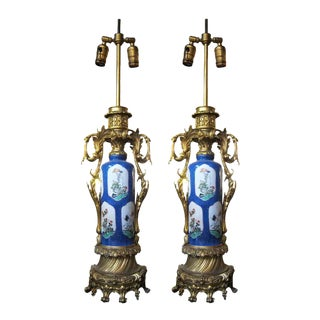 French 19th Century Blue Porcelain Urn Lamps - A Pair