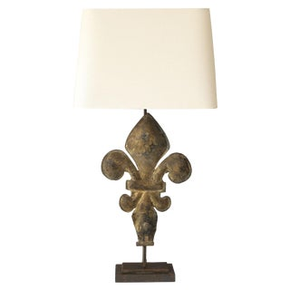 Gilt Tole Fleur-de-Lis Table Lamp