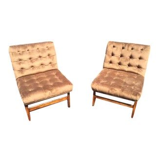 Mid-Century Tufted Velvet Chairs - A Pair
