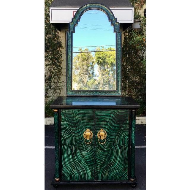 Vintage Mid Century Modern Faux Malachite Cabinet & Mirror - Image 2 of 8