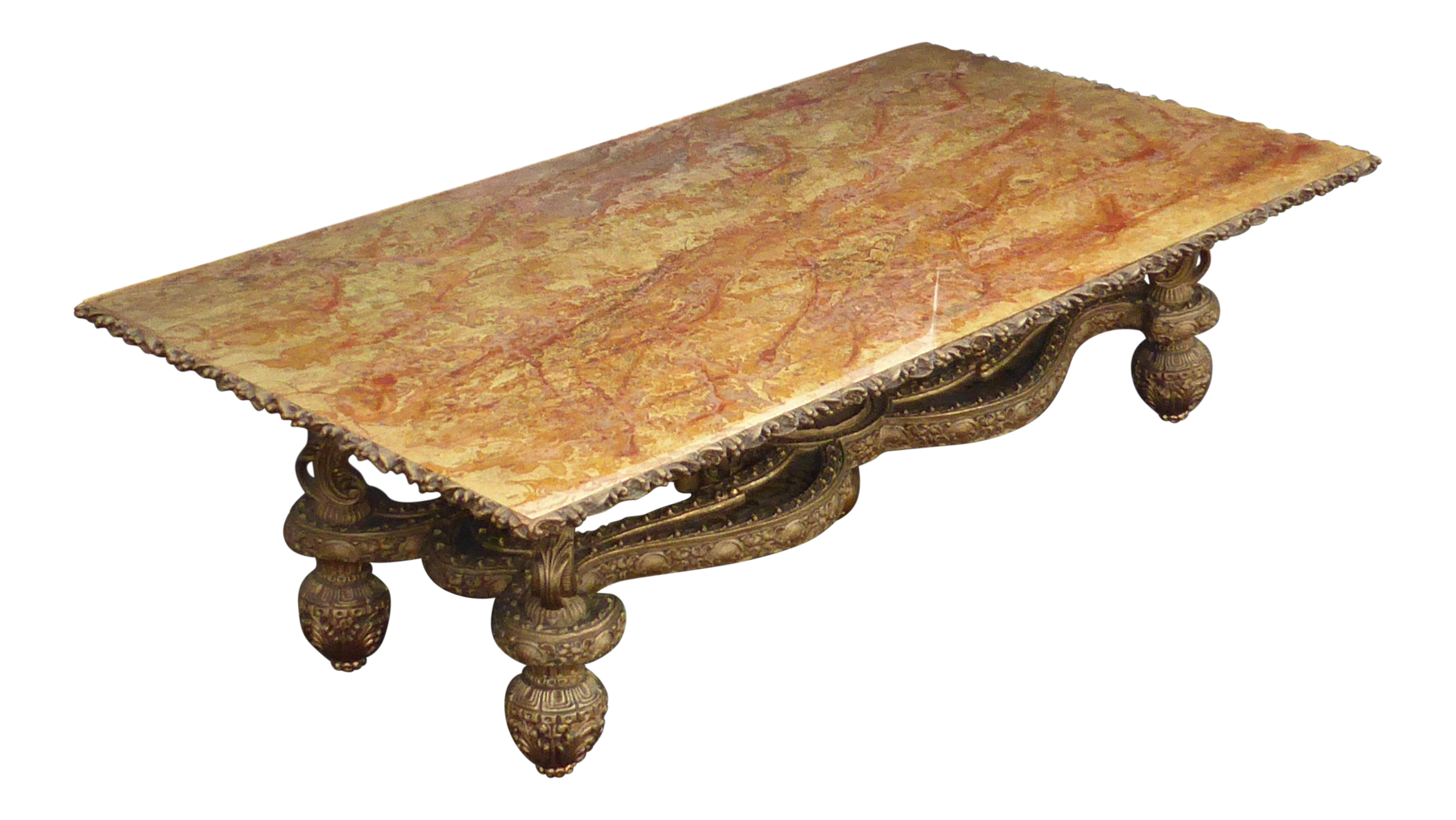 Large Vintage Hollywood Regency Gold Faux Marble Top Coffee Table