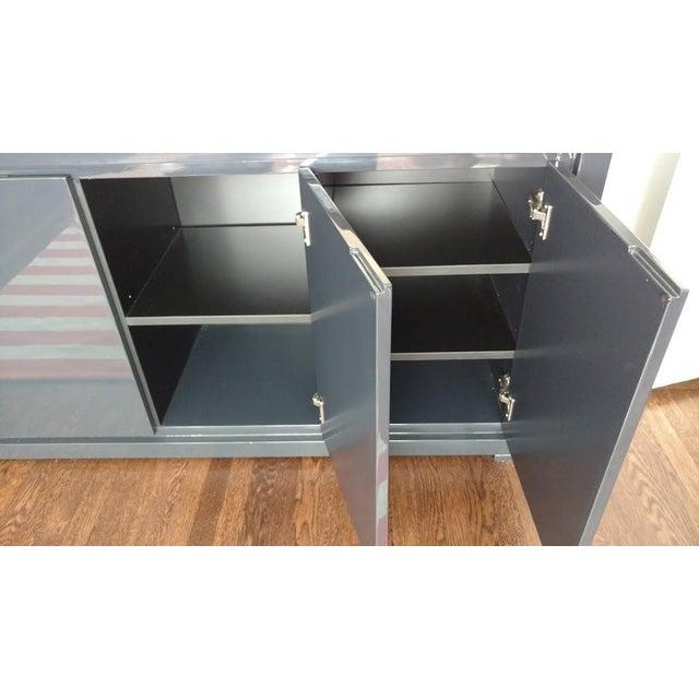 Large Indigo Lacquered Cabinet Credenza - Image 9 of 10