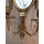 Image of Brass and Crystal Sconces - a Pair