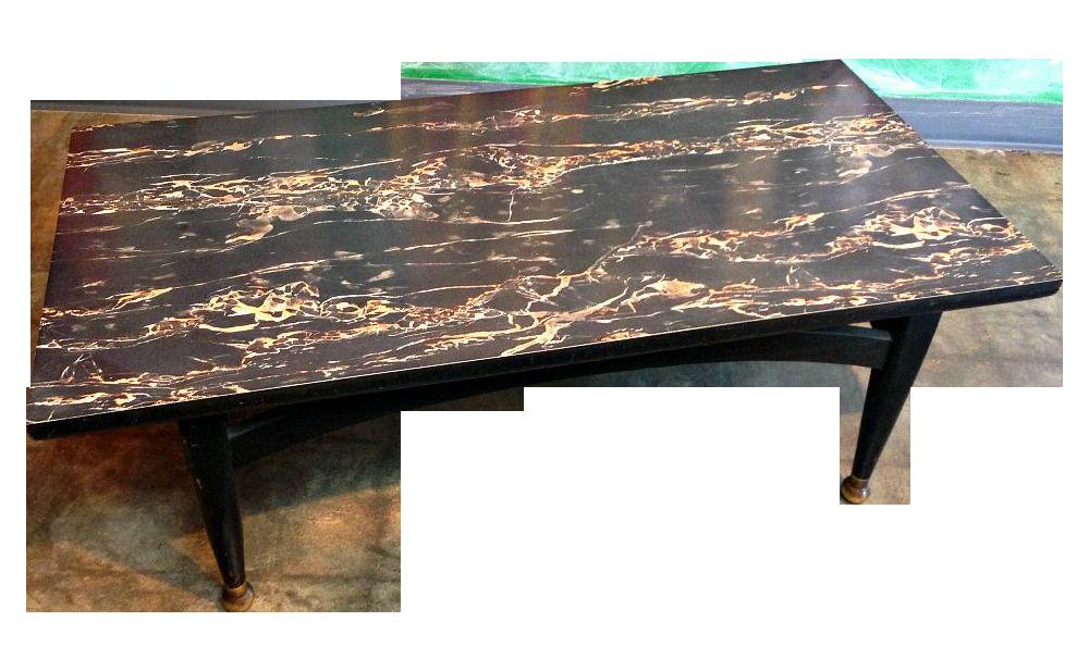 MCM Black Marble Formica Coffee Table