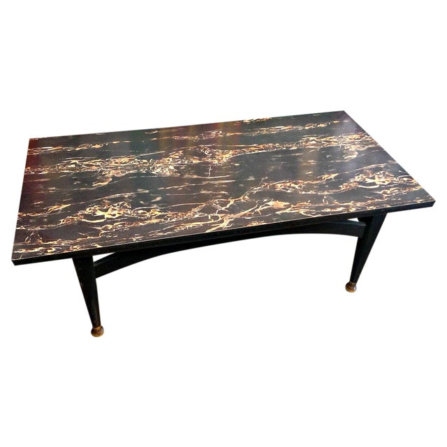 Mcm black marble formica coffee table chairish Formica coffee table