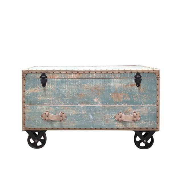 Image of Vintage Style Sky Blue Wheeled Trunk
