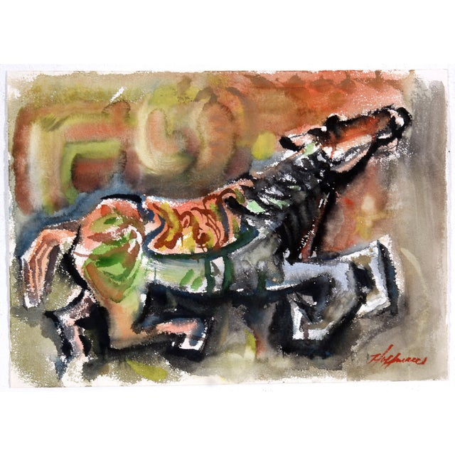 Abstract Horse Watercolor Painting - Image 1 of 3