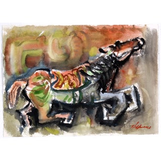 Abstract Horse Watercolor Painting