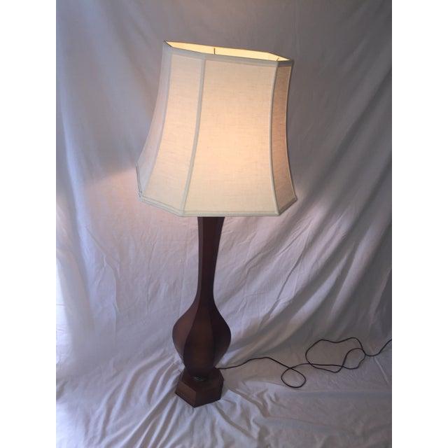Mid-Century Carved Walnut Floor Lamp - Image 9 of 11
