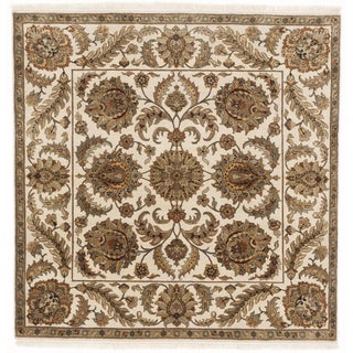 Square Hand-Knotted Indo-Persian Rug - 6'x 6'