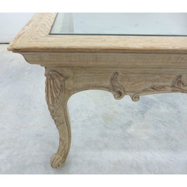 French Square Carved Oak Glass Top Coffee Table Chairish