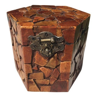 Maitland Smith Style Stone Covered Hexagonal Box