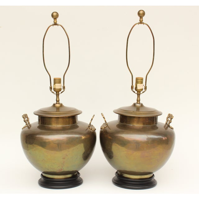 Image of Chapman Brass Asian Table Lamps - A Pair