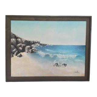 Vintage Ocean Scene With Rustic Frame