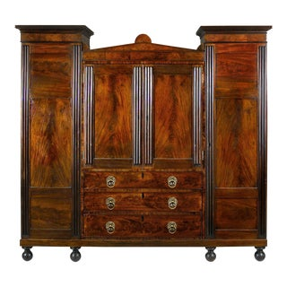 Carved & Reeded Mahogany Winged Wardrobe