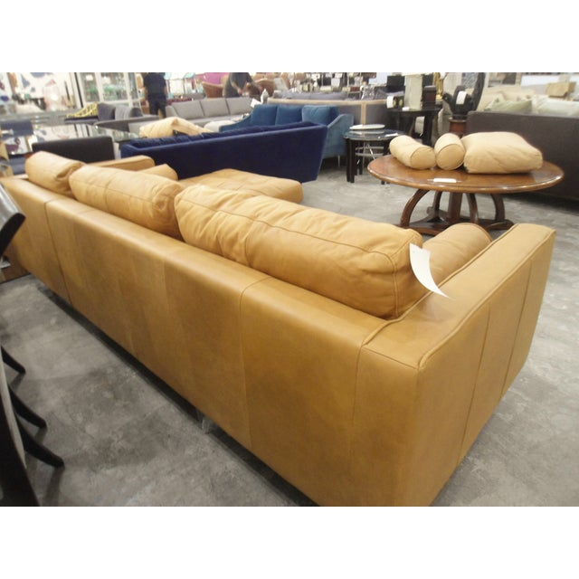 Tan Leather Sectional Sofa, Right Chaise, Tufted Seating - Image 5 of 8