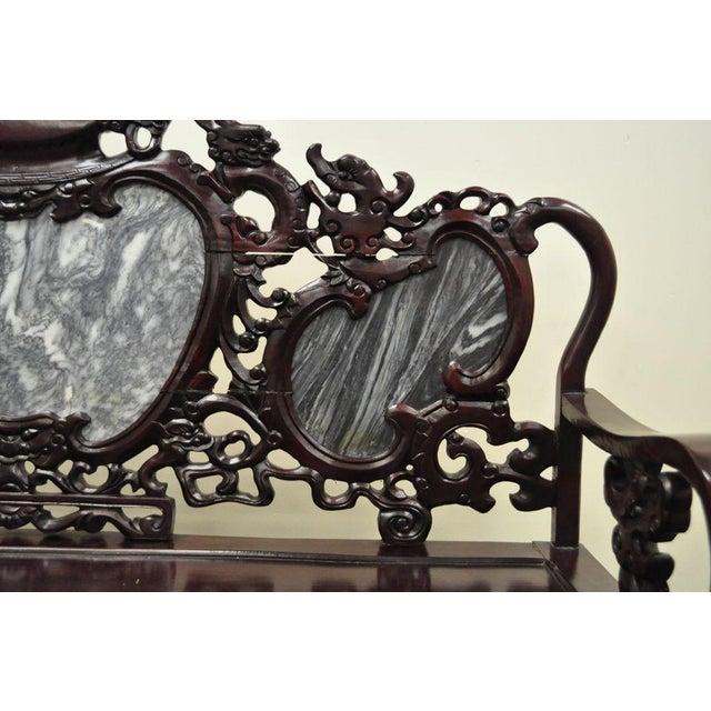 Vintage Chinese Japanese Dragon Carved Mahogany Marble Back Parlor Sofa - Image 7 of 10