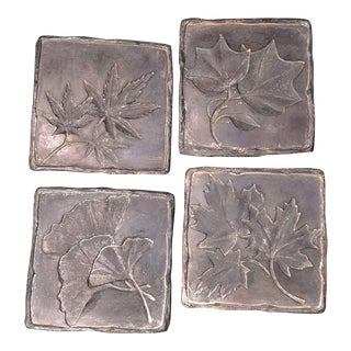 "Vintage Coasters. Hand-Cast Bonded Marble ""Hen Feathers"" Coasters - Set of 4"