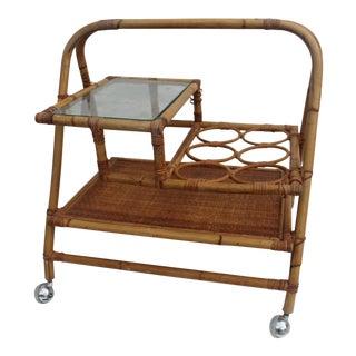 Vintage Small Rolling Wicker & Rattan Tea Cart